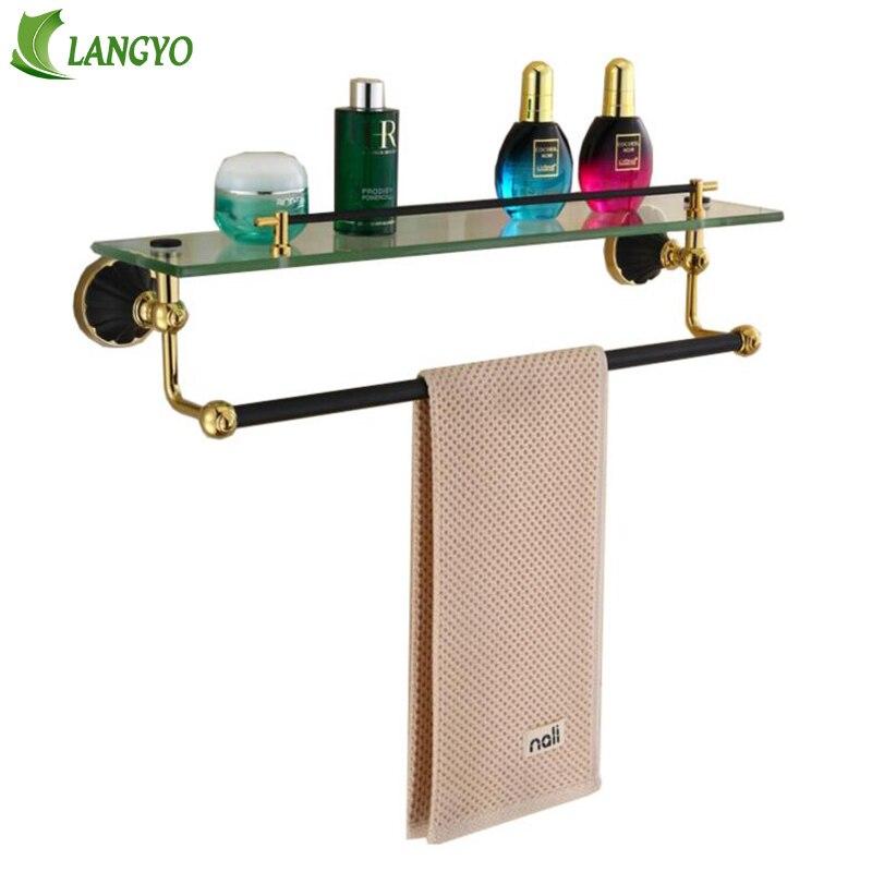 Free shipping Bathroom Glass Shelf Crystal & Metal Gold plated ...