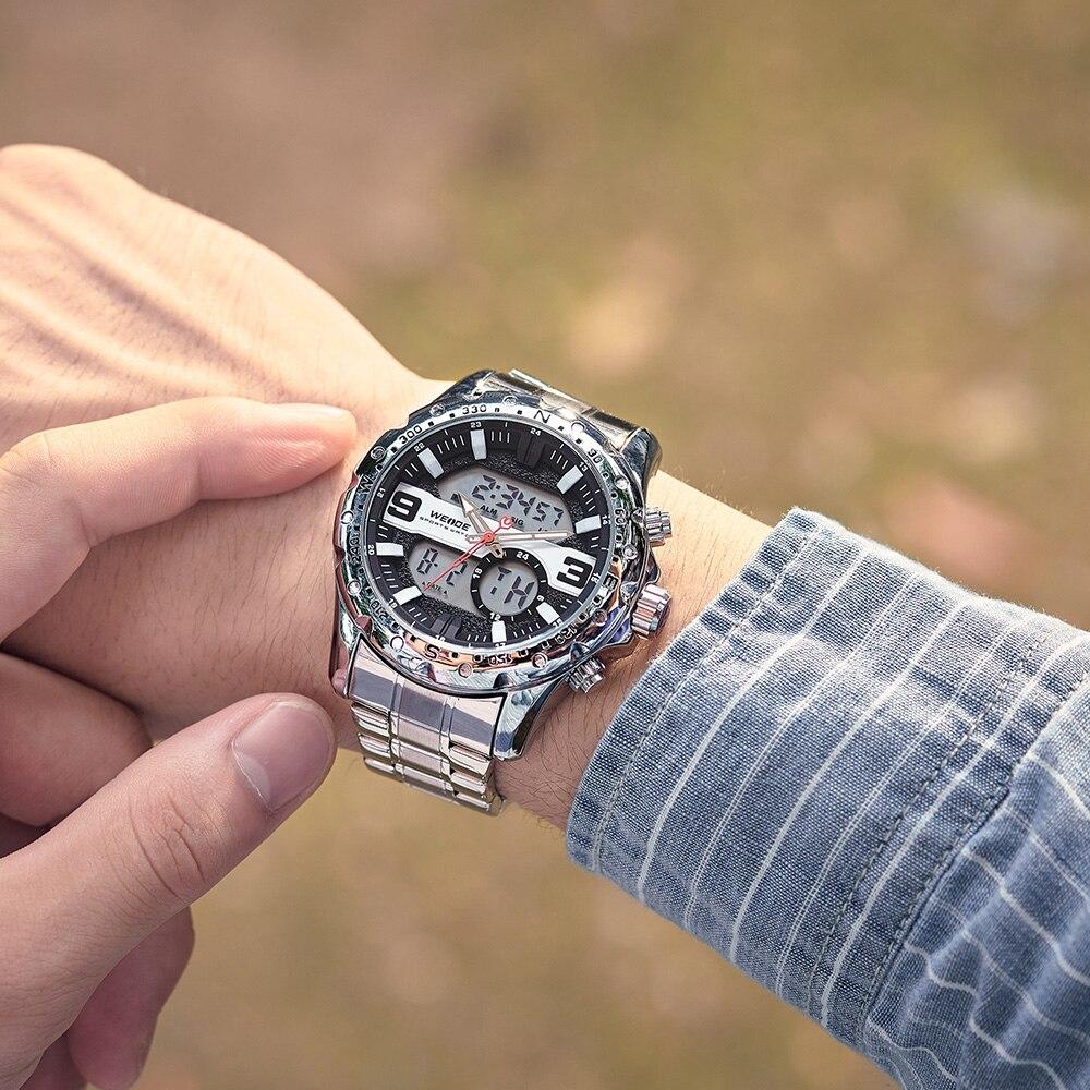 WEIDE Top Luxury Brand Quartz Watches Men LED Digital Clock Man Sports Military Stainless Steel Wrist Watch Relogio masculino 12
