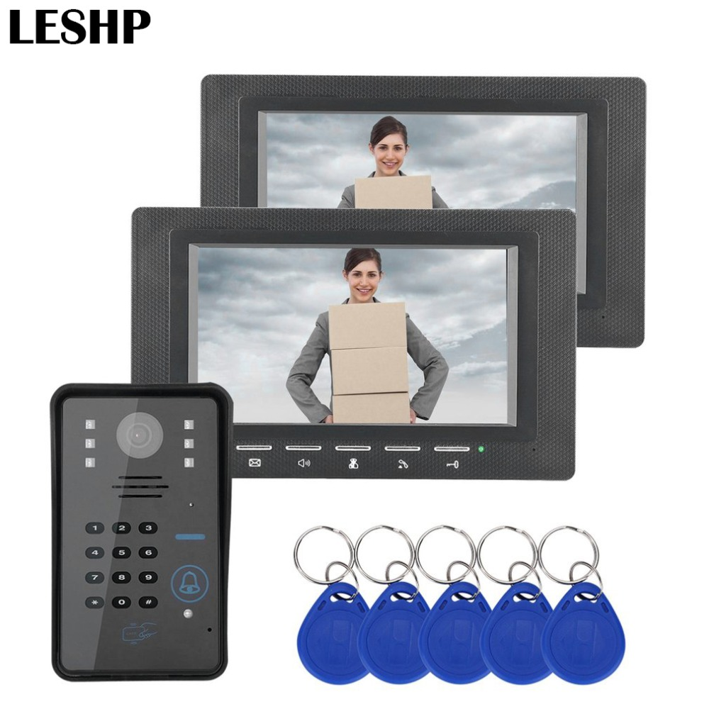 7 inch RFID Monitor Video Door Phone Intercom Doorbell With IR Camera Night Vision Access Control System two video doorphone 7 inch monitor video door phone intercom doorbell kits 1v6 video doorbell doorphone intercom system night vision alloy camera