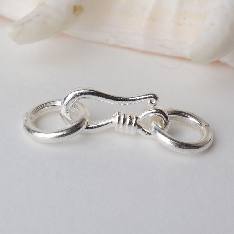 Sterling Silver S Hook & Eye Fish Clasp With Closed Jump Ring, For Necklace / Bracelet Jewelry Diy Components
