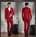 Скромные Мужские Костюмы Тонкий специальной установки Смокинг Модного Бренда Bridegroon Бизнес Свадебное Платье красные Костюмы Blazer (Куртки + Жилет + брюки)