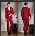 Modesto Dos Homens Ternos de Casamento Slim Fit Tuxedo Marca Moda Bridegroon Vestido de Negócios Ternos Blazer vermelho (Casacos + Colete + calças)