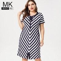 MK 2019 Summer Ladies Plus Size stripe midi dress fashion office lady casual bodycon dresses for women 4xl 5xl 6xl