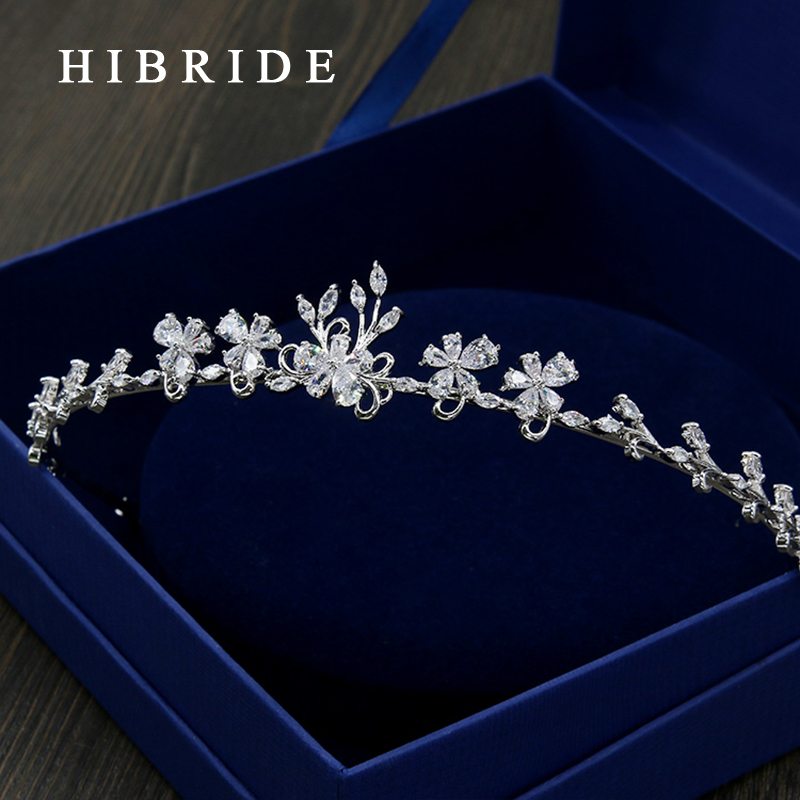 HIBRIDE Jewelry Flower Shape Hair Jewelry Wedding Bridal Crown Accessories Rhinestone Sparking Women Bridal Tiara HC00014