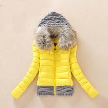 Зима куртка хлопок, женщины шерсть шитьё свободного покроя короткая женское пуховик пальто мех воротник приталенный женщины BL0