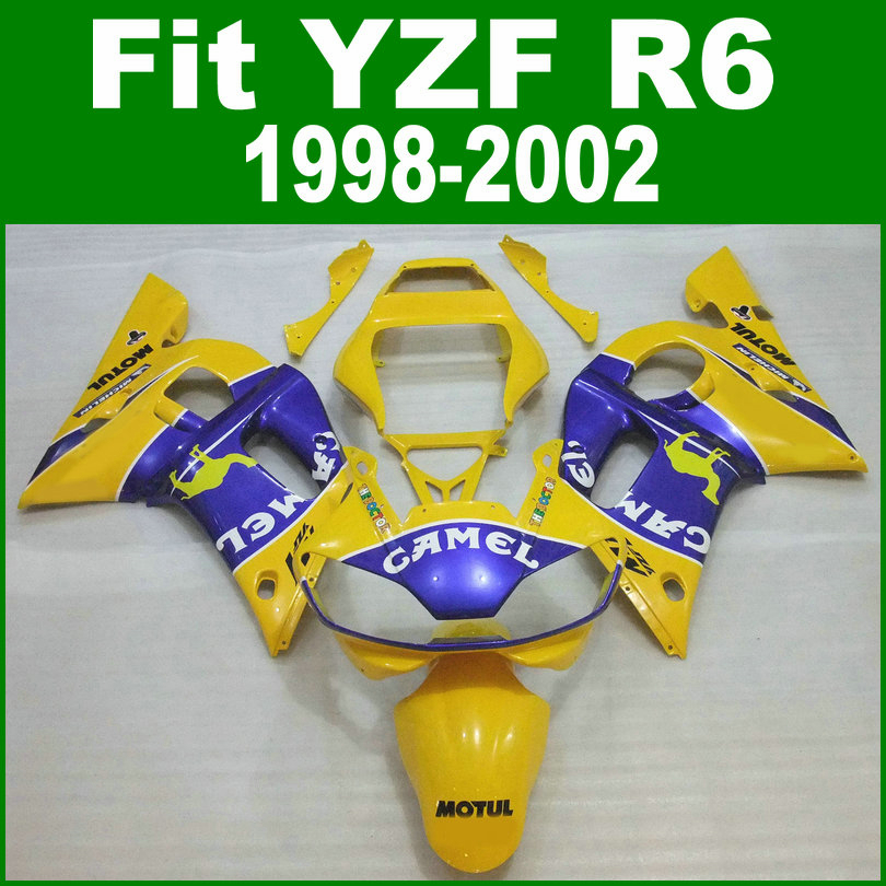 top-selling Fairing kit For YAMAHA R6 98 99 01 02 Fairings ( Yellow camel ) free shipping ll86 top quality aftermarket abs fairings for yamaha r1 2012 kit with free shipping