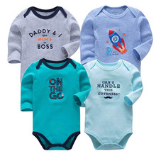 newborn bodysuit baby babies bebes clothes long sleeve cotton printing infant clothing 4pcs/lot 0-24 Months