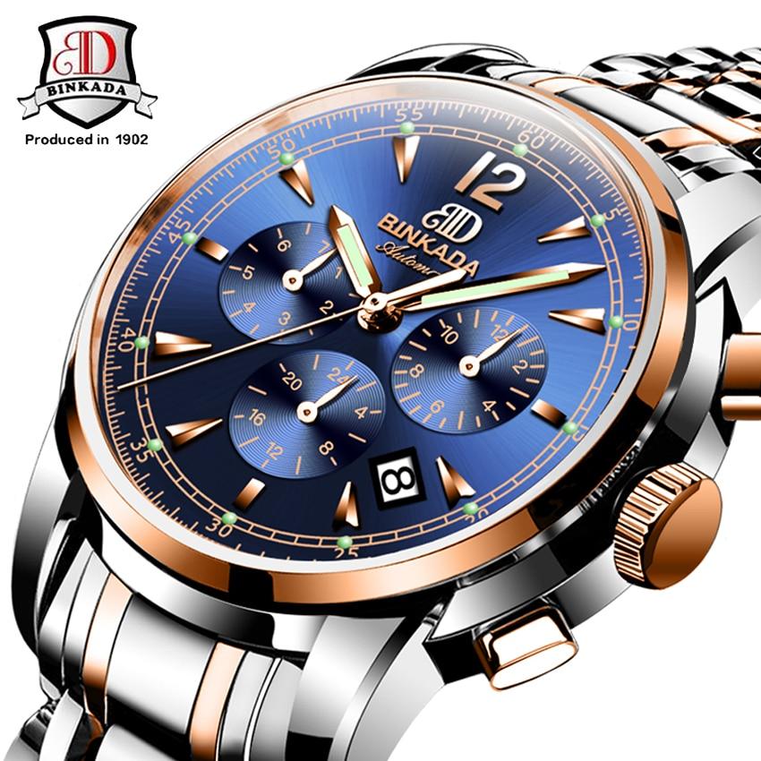 Classique BINKADA Montre Automatique Mécanique Montres En Acier Plein de Marque Hommes Mâle Étanche Casual Businees Montre-Bracelet Horloges
