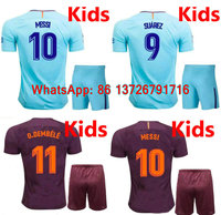 17 18 Kids MESSI NEYMAR JR INIESTA PIQUE SUAREZ Soccer Jerseys Kits 2017 2018 O DEMBELE