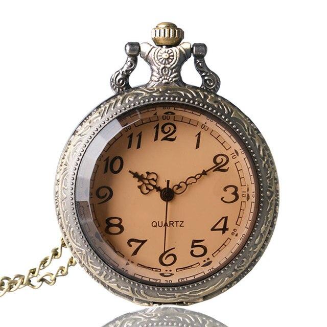 Antique Dark Brown Glass Necklace Quartz Pocket Watch Bronze Chain Gift P03
