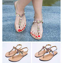 2019 NEW Women`s Flat beach shining rhinestones sandals summer bohemia diamond T-strap thong flip flops  Slippers Boho