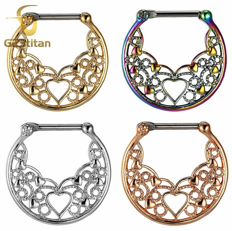 PINK OPAL HEART SEPTUM CLICKER Nose Ring Daith Hanger Angel Wing Love Piercing
