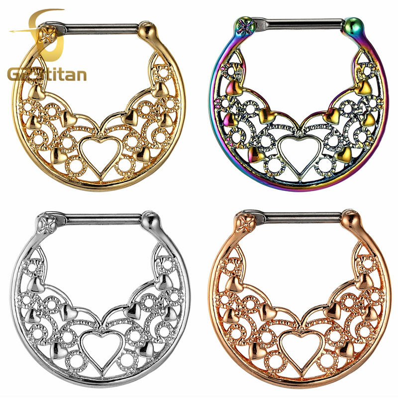 G23titan Nose Hoop Nose Rings for Men Women Body Piercing Jewelry G23 Titanium Pole Real Septum Clicker