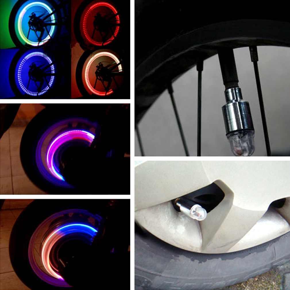 新到着 1 ペア LED モーターサイクリングバイク自転車車のホイールのタイヤバルブライト est 送料無料