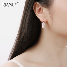 Fashion New natural freshwater pearl earrings for women 925 sterling silver with