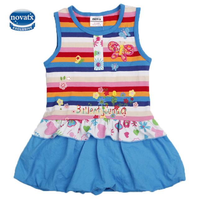 2016 NOVAkids usure chaude Nouveau Design 2-6Y Filles Enfants Sans Manches Robes D'été D'o-Cou Coton Belle Filles Caractère A-ligne