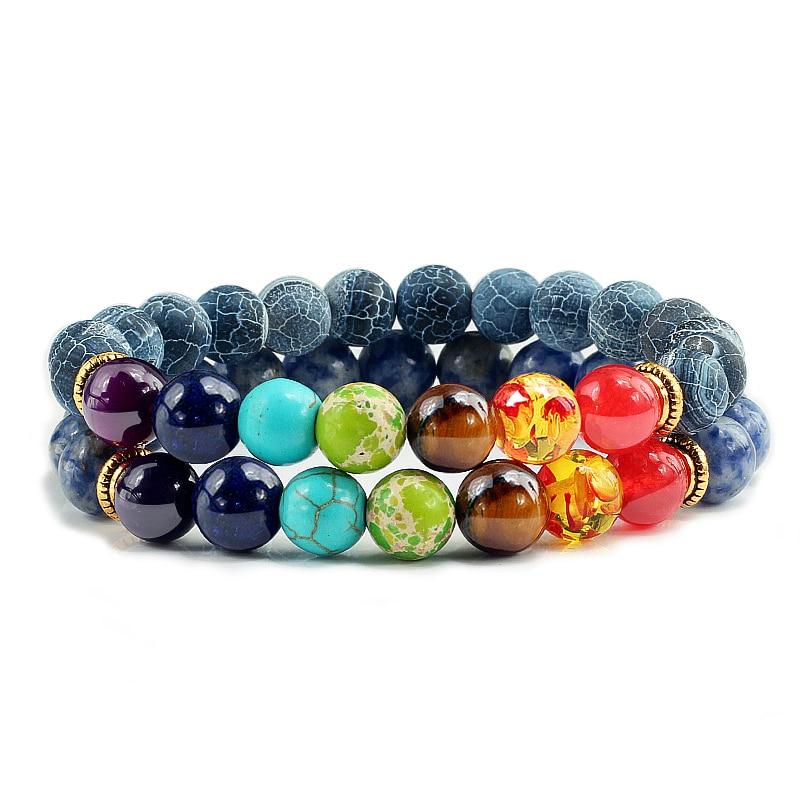 Multicolor 2Pcs/set Natural Stone 7 Chakra Beads Bracelets for Lovers Reiki Balance Fitness Bracelets Bangles Men Women Jewelry