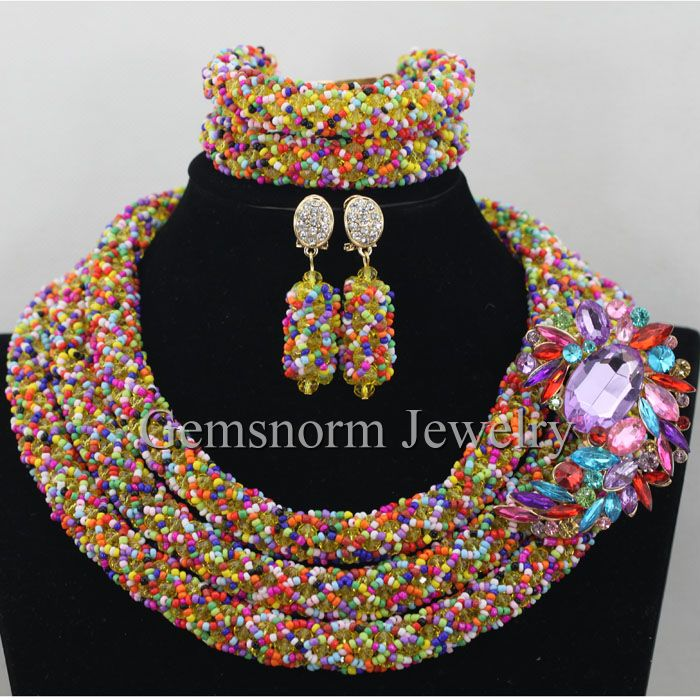 Multicolor Bridal Jewelry Costume Necklace Set Big Rhinestone Pendant Wedding African Beads Jewelry Set Free Shipping