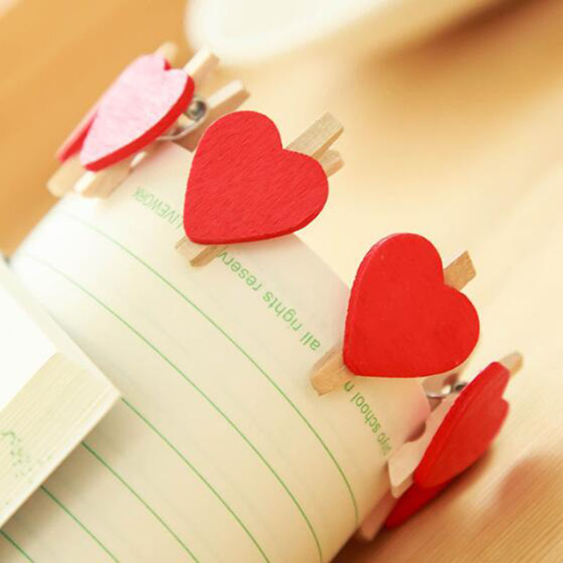 20pcs Cute Mini Red Lover Heart-Shaped Wooden Folder Memo Clip New Office Supplies Photo Snack Clip