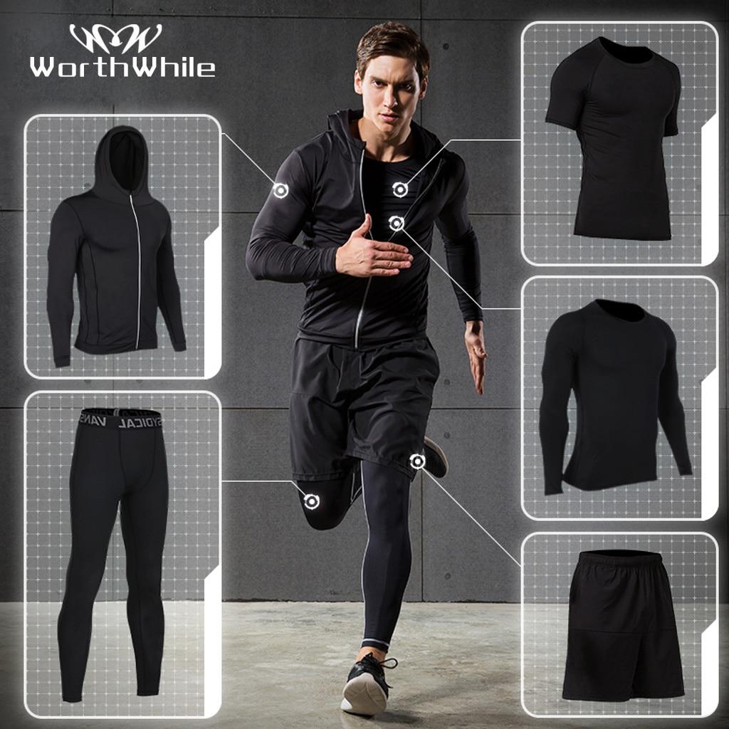 Спортивный костюм WorthWhile 5 шт./компл. мужской, компрессионная одежда для спортзала, фитнеса, тренировок, трико, костюм для бега и бега