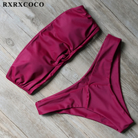 RXRXCOCO Bikini 2017 Solid Bikini Set Bandeau Swimsuit Women Sexy Strapless Swimwear Female Low Waist Bathing