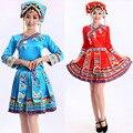 Azul vermelho Mulheres hmong nacional chinesa roupas Tujia tradições hmong miao roupas vestido performance de palco de dança trajes