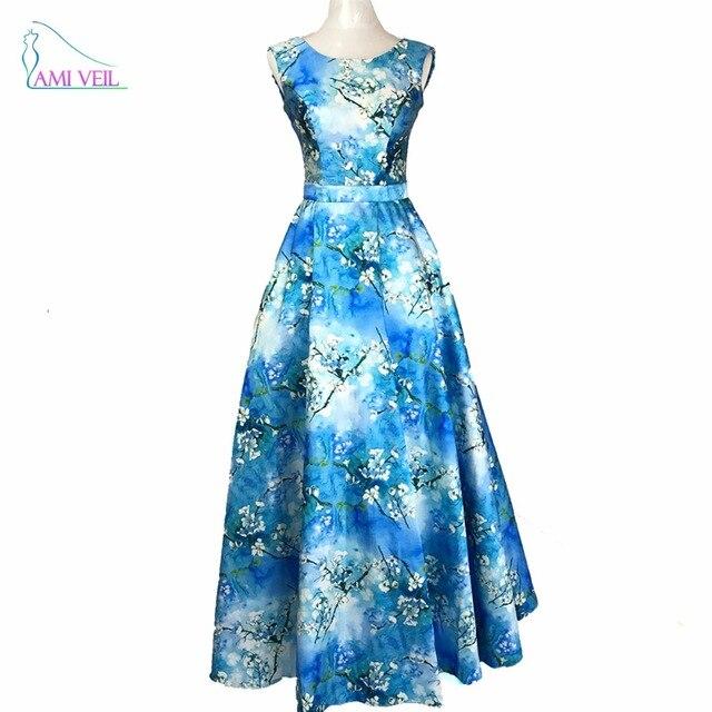c9187e426 Estampado de Flores blanco Acuarela Azul Real Vestidos de Noche Elegantes  Vestido Festa Longo Formal Partido