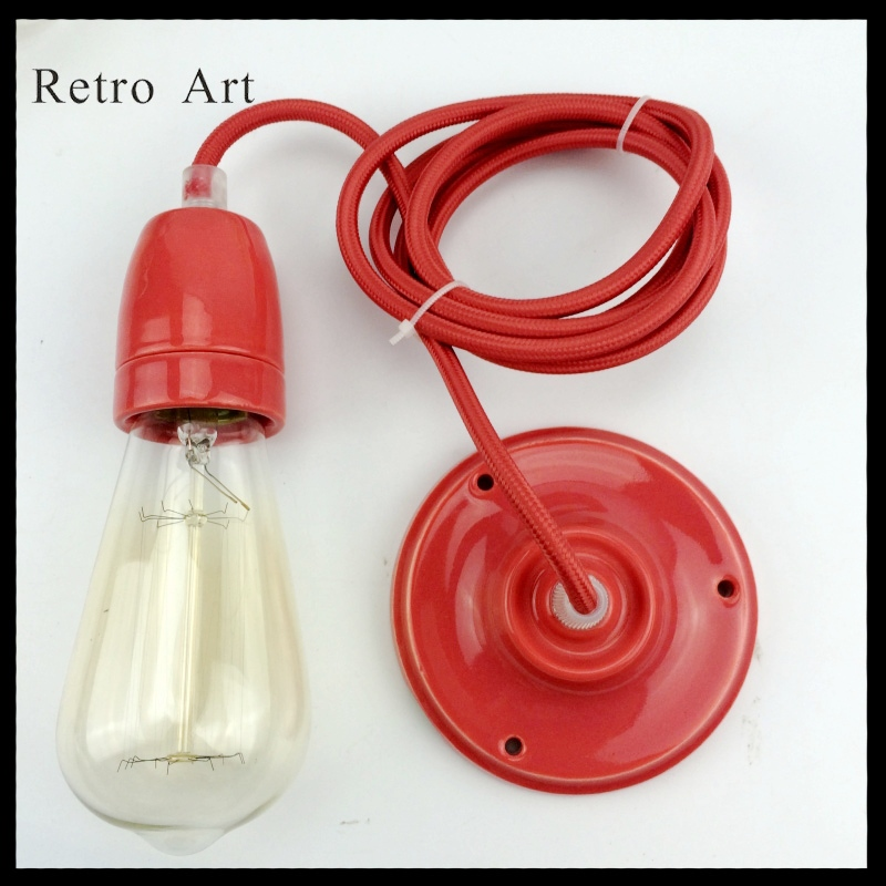 vintage Industrial Pendant lamp kit retro edison style Fabric Wire Kit Cord Set with lamp socket color brass socket e27 industrial pendant lamp fixture copper edison filament socket lighting 110v 220v with fabric textile wire