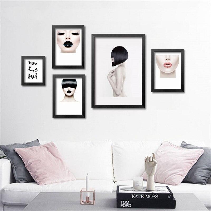 Negro Blanco moda maquillaje lienzo pintura cartel, cuadros de la ...