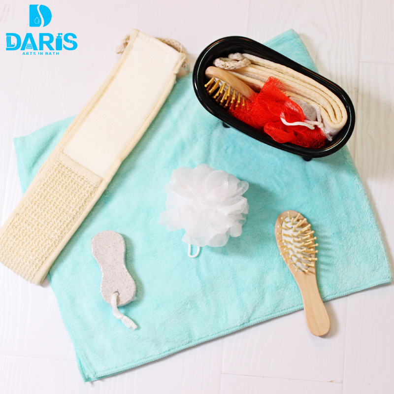 DARIS 4pcs Bathroom Cleaning Sponge Shower Set Puffs Rubbing Bath Towel Foot Stone Bubble Bath Ball Set Shower Sponge Set