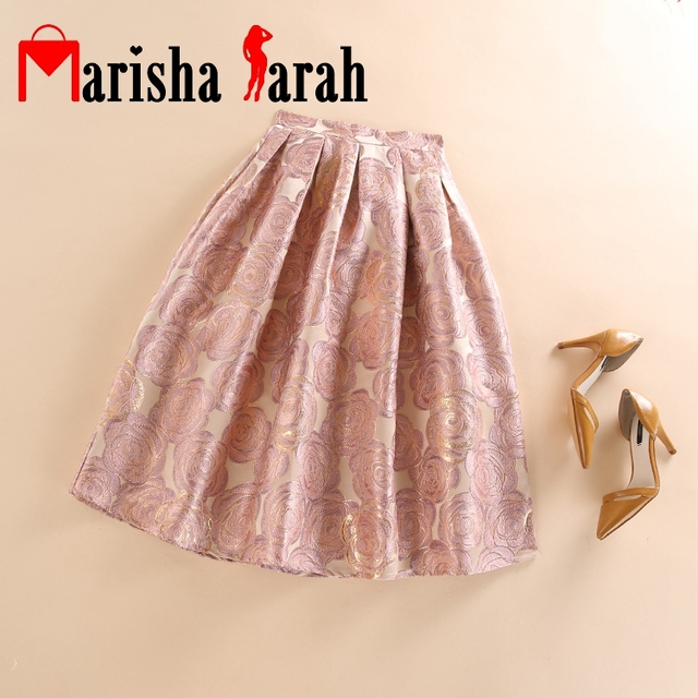 998c36cd6dcc High Waist Work Wear Womens Fashion Rose Flower Jacquard Skater Pleated  Midi Skirt New Faldas Saia