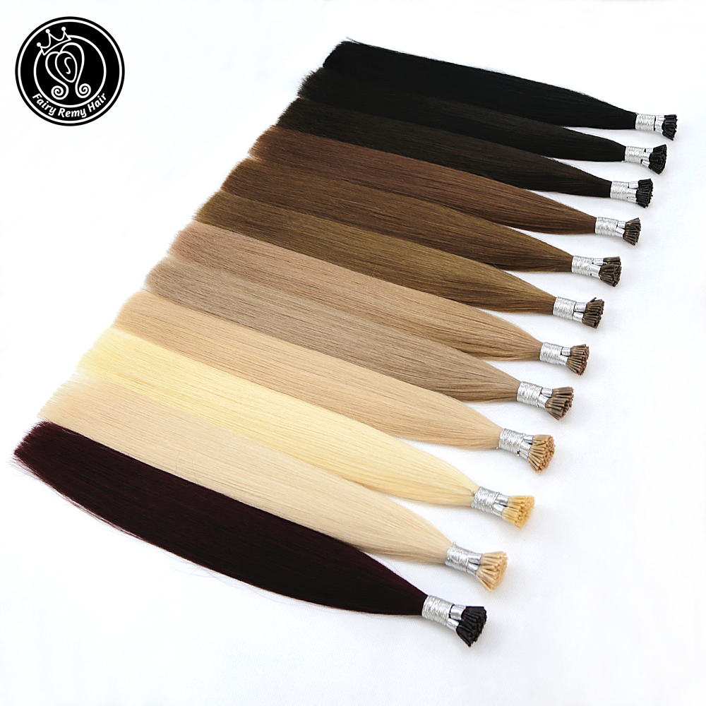 Fusion Keratin I Tip Micro Ring Real Remy Human Hair Extensions Straight Pre Bonded Human Hair On Capsule 1g/s 16