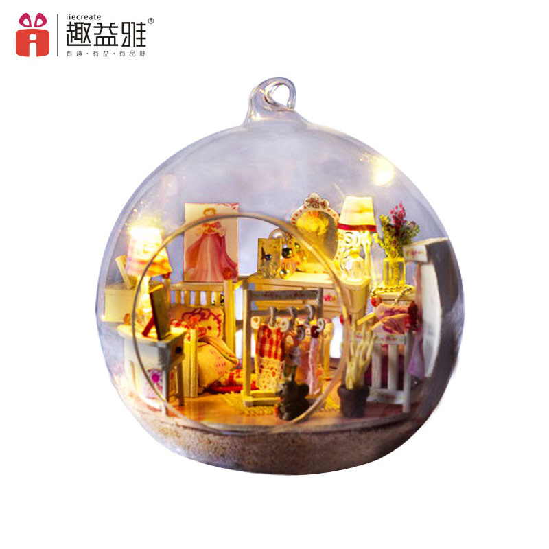 iiE CREATE DIY Doll House Mini Glass Ball Model Building Kits Wooden Miniature Dollhouse font b