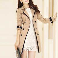 Casaco de trincheira para mulher 2019 outono casual duplo breasted feminino longo trench coats plus size casaco feminino senhoras blusão