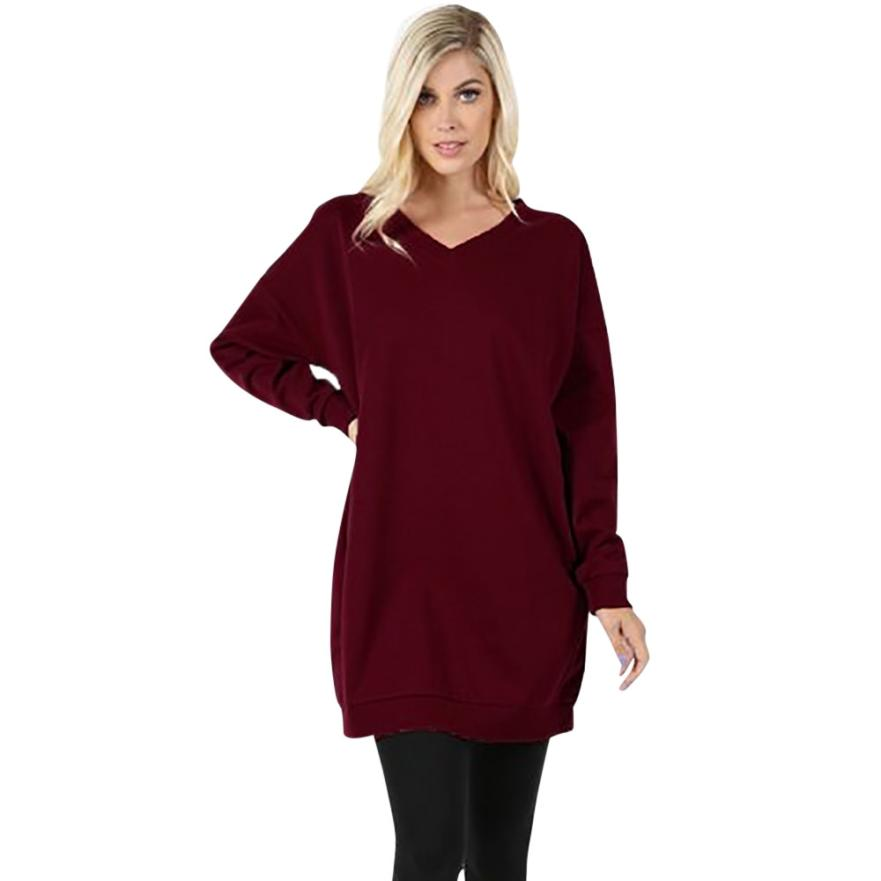 Winter Women V-Neck Long Sleeve Hoodie Over Plus Sized Long Solid Tunic Top Pocket Christmas Sweatshirt Blouse Ladies Hoodie #23