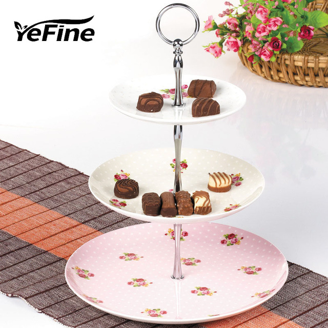 YeFine Fashion Small Flower Ceramic 3 Tier Fruit Cake Plate Stand Handle Fitting Hardware Rod Plate  sc 1 st  AliExpress.com & YeFine Fashion Small Flower Ceramic 3 Tier Fruit Cake Plate Stand ...