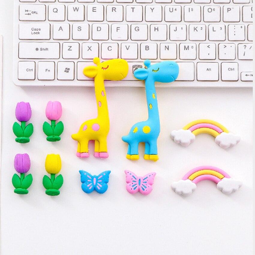 5pcs lot Kawaii Eraser Cartoon Card Giraffe Rainbow Horse Korean Eraser Cute Stationery School Student Supplies Gift Supplliers in Eraser from Office School Supplies
