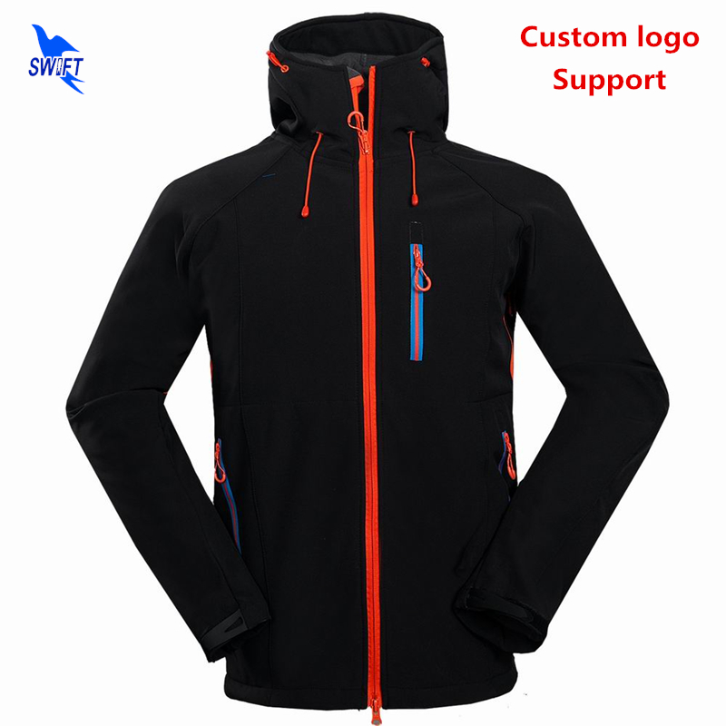цена на 2018 Customize Waterproof Outdoor Mountain Hiking Clothing Winter Fleece Softshell Jacket Men with Hooded Sport Fishing Ski Coat