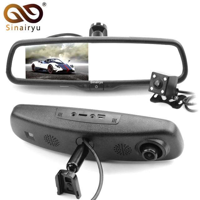 "Sinairyu HD 1920*1080P Car DVR Camera Rearview Camera Dual Lens Dash Cam Recorder 5"" IPS LCD Screen Car Rear View Mirror Monitor"