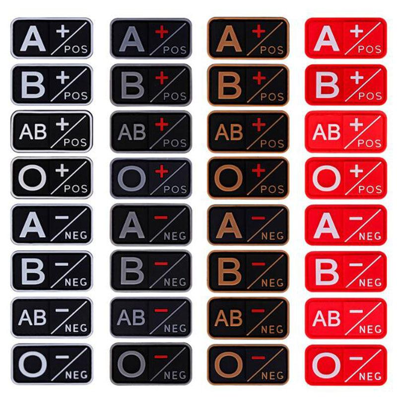 3D PVC A+ B+ AB+ O+ Positive POS A- B- AB- O- Negative NEG Blood Type Group Patch For Clothing Military Rubber Badge Hook& Loop