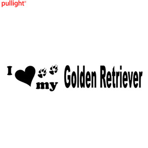 14.5cm*2.8cm Personality I Love Vinyl My Golden Retriever Car Stickers Accessories