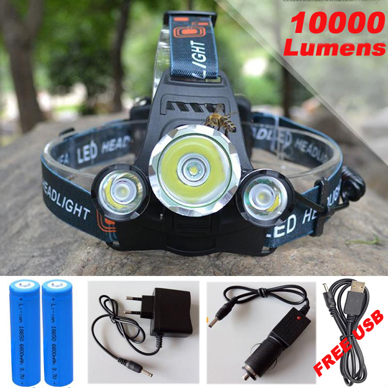 10000Lm CREE XML T6+2R5 <font><b>LED</b></font> Headlight Headlamp Head Lamp Light 4mode torch +2x18650 battery+EU/US Car charger for fishing Lights
