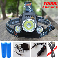 6000Lm CREE XML T6 2R5 LED Headlight Headlamp Head Lamp Light 4 Mode Torch 2x18650 Battery