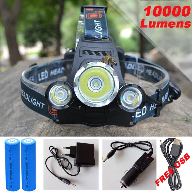 10000Lm CREE XML T6 + 2R5 Led-scheinwerfer Scheinwerfer Stirnlampe Licht 4 modus taschenlampe + 2x18650 batterie + EU/US Auto ladegerät für angeln Lichter