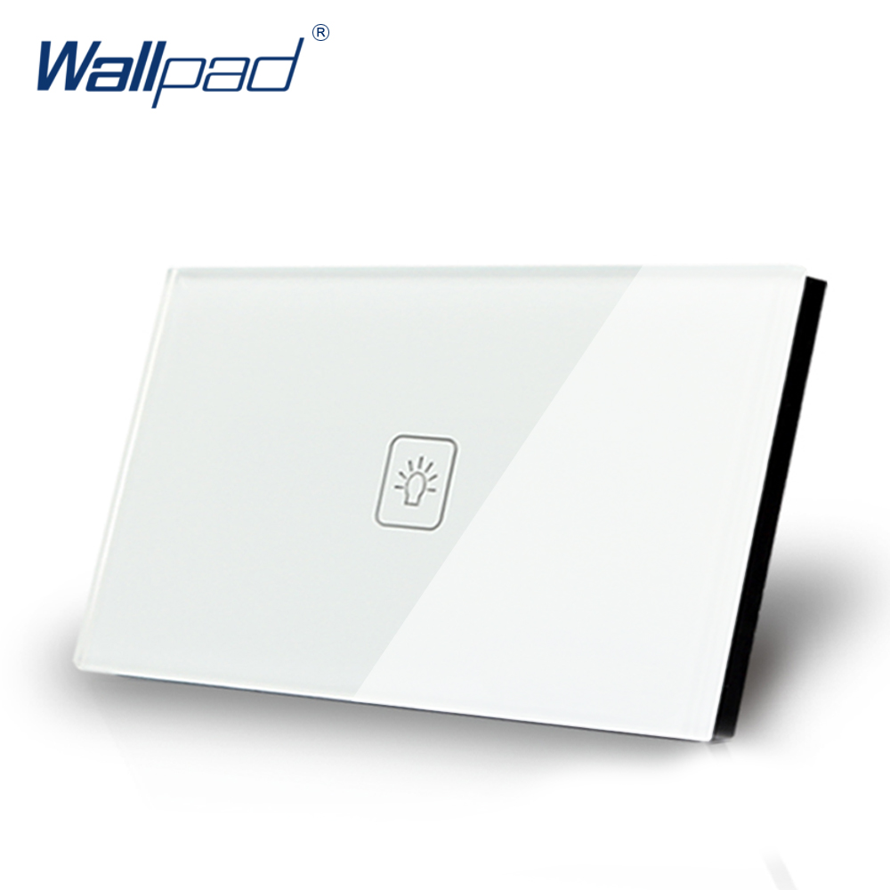 1 Gang 1 Way US Standard Wallpad White Crystal Light Smart Touch Screen Switch,  110V-250V 118*72mm Switch , Free Shipping smart home us au wall touch switch white crystal glass panel 1 gang 1 way power light wall touch switch used for led waterproof