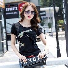 Lusumily Summer T-shirt Women 2019 New Kawaii Cotton Cartoon Dragonfly Tops Sequin Black White Plus Size T-shirts Female 3xl T