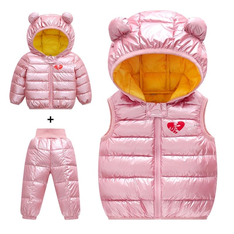 8961f430f Children down cotton Clothing 3PCS(Jacket + Pants + vest) Girls ...
