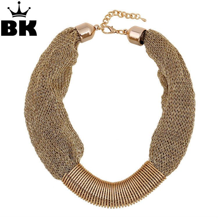 Noble Sparkly Party Pop Dress Accessories Vintage Fashion Punk Big Simple Metal Chain Braid Twist Chain Necklaces For Women