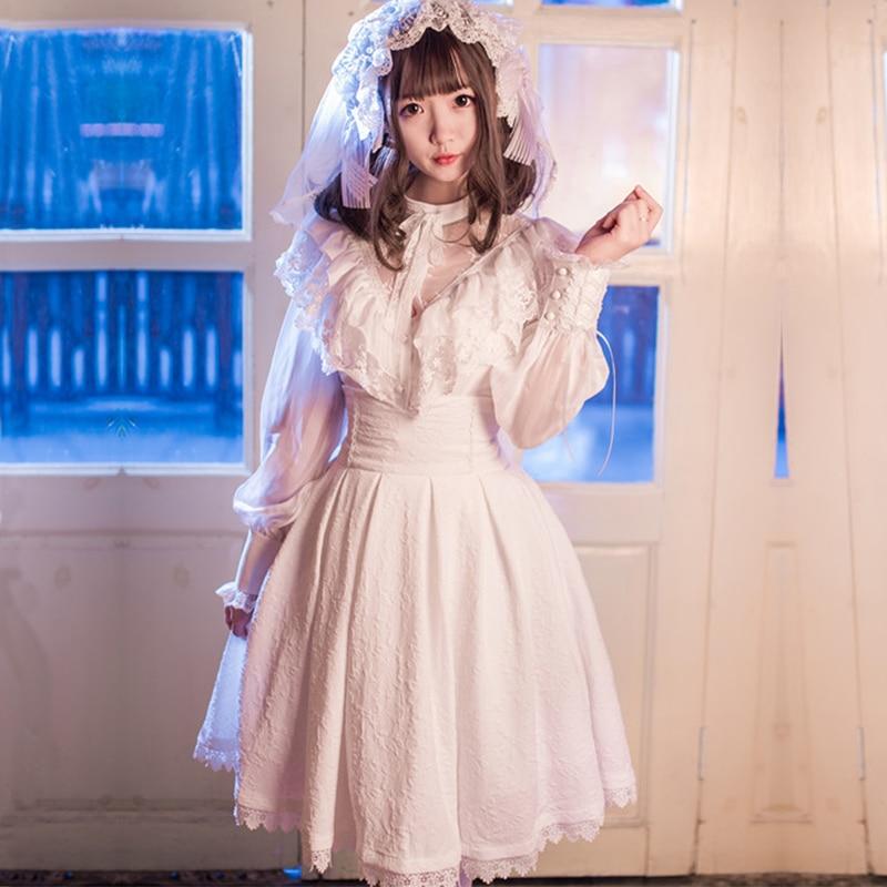 Japanese Vintage Luxurious Chiffon Lace Lolita Sets Women Embroidery Dolly Skirt Lantern Sleeve Ruffles Shirt Two Piece Set V109