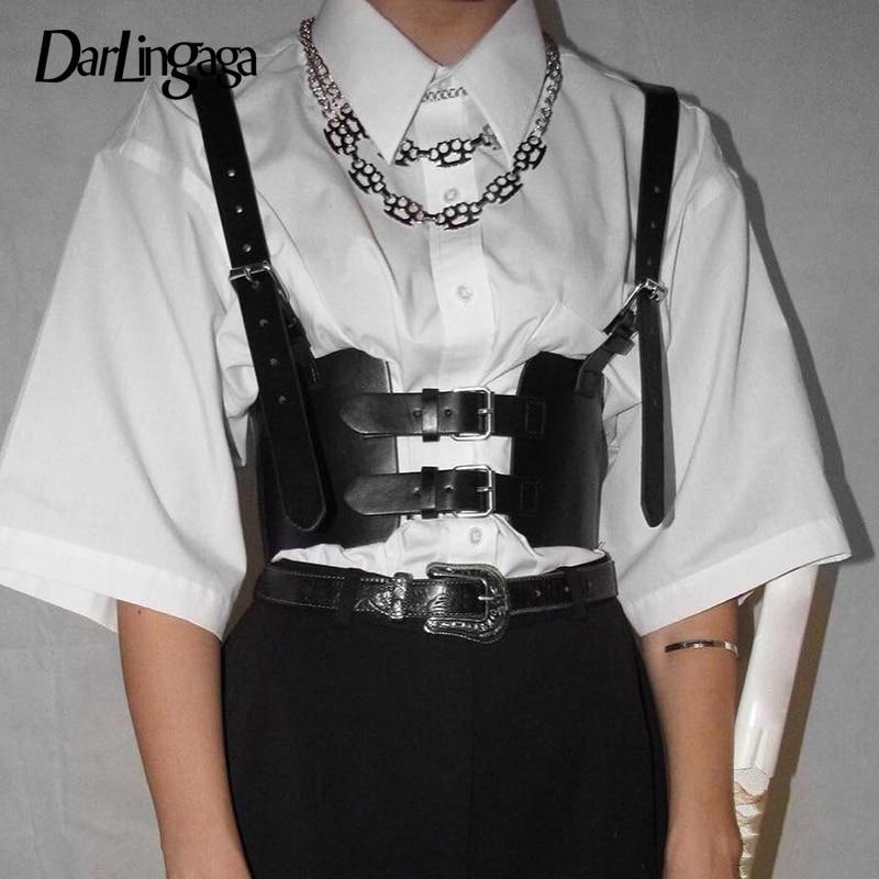 Darlingaga-Top corto de piel sintética para mujer, ropa urbana negra, chaleco con hebilla, Top ajustable, tops recortados